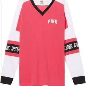 Victoria's Secret Pink V-Neck Varsity Crew